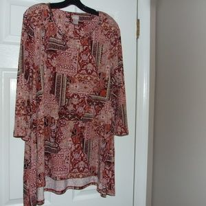 Chico's High-Low Patchwork Tunic Top Size 4
